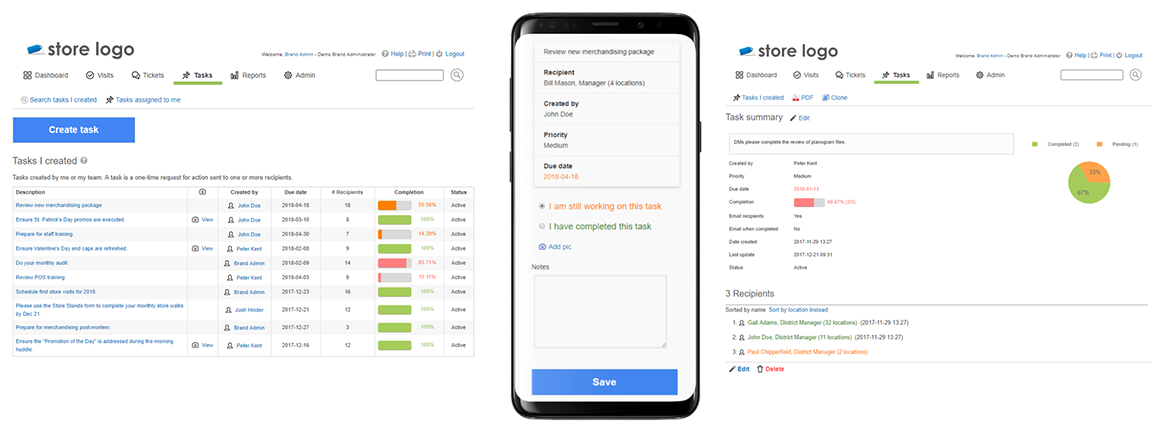 Easily assign and track tasks across your store hierarchy